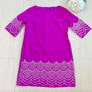 Gianni Bini Purple Embroidery shift Dress M